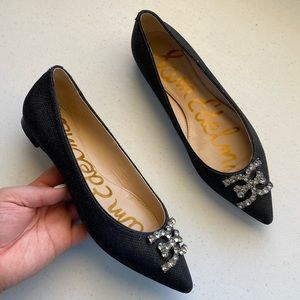 Sam Edelman Black Crystalized Pointed-Toe Loafer